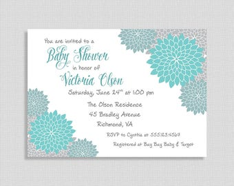 Teal & Grey Baby Shower Invitation, Baby Shower Invite, Mums, Floral, Gender Neutral, DIY PRINTABLE