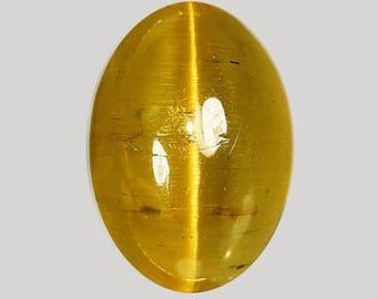 APATITE: (34312) * * * Honey Yellow 9 x 7mm  Cat's Eye Apatite Cab