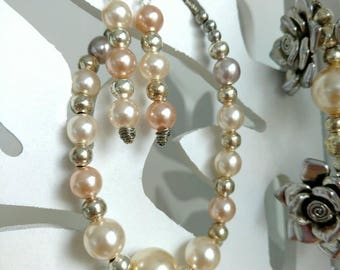 OOAK Set of Bracelet and Earrings, Glass Pearls, Silver Plated, Shiny Fashionable Jewelry