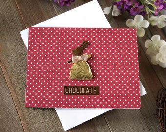 Handmade Easter Card, Wrapped Up Chocolate Bunny, Polka Dots, Red and White, Blank Inside, Free US Shipping, Unique, One of a Kind