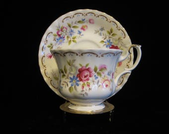 Footed Cup & Saucer Set in Jubilee Rose by Royal Albert