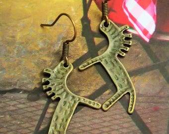 Elegant Antique Bronze Horse Earring