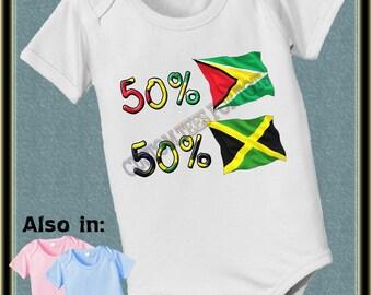 Custom short sleeve and long sleeve 50 Guyana 50 Jamaican baby infant  Bodysuit baby bodysuit, baby shower gift