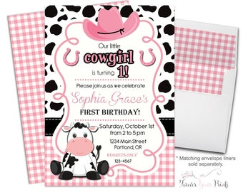 Cowgirl Birthday Invitation - Cowgirl Party Invitation - Cowgirl Invitation - Cowgirl Invitation - Cowgirl Invite - Girls 1st Birthday