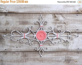 ON SALE Chippy White and Coral  Metal Wall Scroll / Decorative Metal Wall Scroll /Metal Wall Art  / Shabby Chic / Bedroom Wall Decor / Kitch