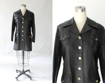 1960s Mod Leather Jacket with Gold Buttons // Vintage 60s Hip Length Collared Leather Coat // Small - Medium