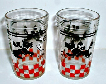Scottie Dog Glasses Hazel Atlas Vintage Drinking Glasses Lot of of 2 Scotty Dogs Scottish Terrier