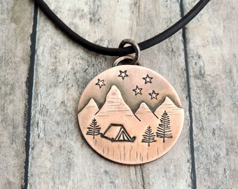 Sleep Under the Stars Necklace - Camping Gift - Camper Jewelry - Nature Jewelry - Outdoor Explorer - Campsite Scene