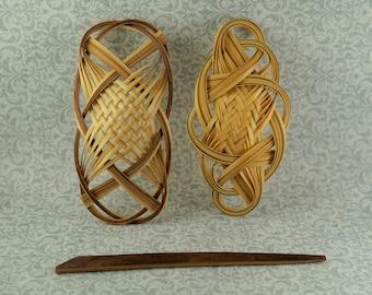 Woven Wood Hair Slides