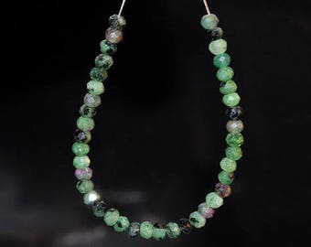 "4.25"" 40 Pieces 4x3mm Gemmy~Tanzania RUBY in ZOISITE (ANYOLITE) Tiny Faceted Rondelle Beads - E1079"