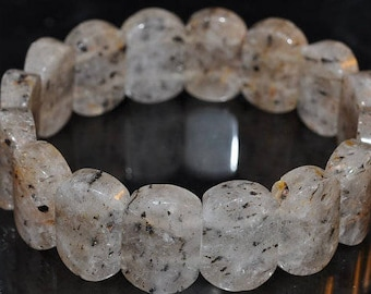 "7.5"" ***Superb Energy~Natural Rare BLACK CACOXENITE in Quartz Gemstone Crystal Stretch Bracelet - R1069"