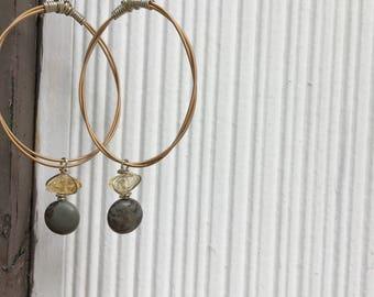 Repurposed guitar string hoop earrings