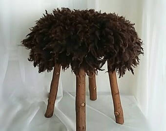 Hand Crafted Round Wood Footstool Or Ottoman With Sheep Friendly