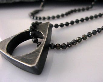 Black Chain Necklace Triangle Pendant Sterling Silver Fine Silver 20 inch Black Necklace Edgy Mens Jewelry Necklace Mens Necklace