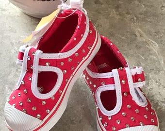Girls Size 6 Gymboree Pink Toddler Tennis Shoes Blinged In Swarovski Crystal