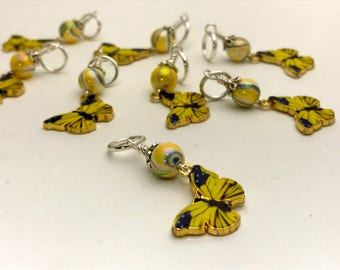 Yellow Butterfly Stitch Marker Charms, Snag Free, Gifts for Knitters