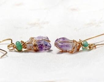 Stone Jewelry Handmade Raw Stone Amethyst Point Gold Filled Earrings Amethyst Jewelry Gold Filled Jewelry Stone Jewellery Birth Stone Israel