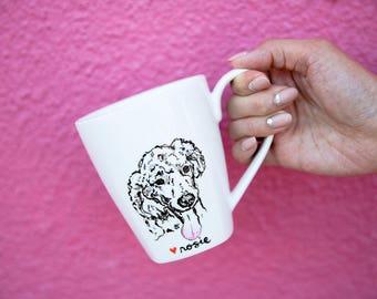 Personalized Dog Portrait Mug Hand Drawn Poodle