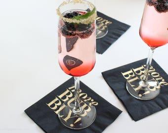"20 Foil-printed Cocktail Napkins / ""MORE BUBBLY!"" / Black & Gold Metallic"