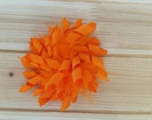 Orange or Apple Green, Feather Korker bow, Summer, Fall, Halloween, Thanksgiving