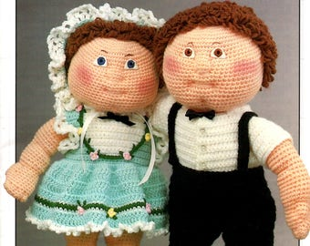 """HIS & HER Annie's Attic 87F80 Crochet 16"""" Soft Sculpture Doll Wardrobe for Debbie Ann and Scotty and OTHERS 1987 Mary Layfield"""