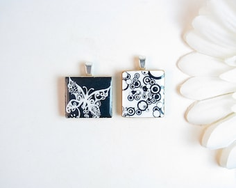 Scrabble Tile Pendants - Set of 2 in Black and White // Butterfly Scrabble Tile // Black and White Scrabble Tile // Black and White Pendant