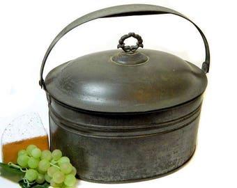 Large Antique Tin Lunch Pail Berry Pail