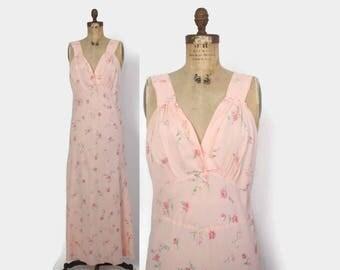 Vintage 40s Floral NIGHTGOWN / 1940s Floral Print Roses Full Length Bias Cut Slip Dress L