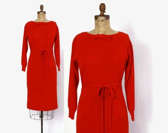 Vintage 50s KNIT Dress / 1950s Bright Red Wool Belted Curvy Sweater Dress