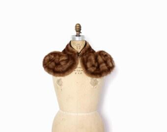 Vintage 40s Mink Fur Collar / 1940s Brown Striped Curvy Genuine Fur Collar Stole
