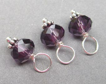 Amethyst Birthstone Charms, Amethyst Faceted Crystal Beads, Amethyst Drops, Bead Dangles, Stitch Markers, February Birthstone Charm