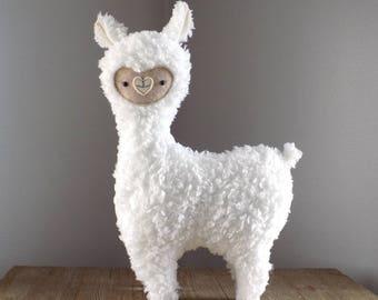 Alpaca stuffed animal, alpaca plushie, llama stuffed animal, cute llama, kawaii alpaca, white llama, white alpaca nursery decor