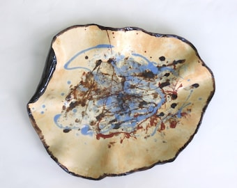 Abstract Ceramic Centerpiece Tray Contemporary Art Vessel Free Form Modern Decorative Clay  Dish Blue Cream Black Pottery Home Accent