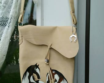 Beautiful handmade leather bag with hand painted horses