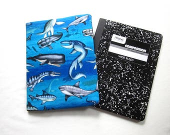 Reusable Composition Book Cover with Pocket featuring Prehistoric Sea Creatures (Comp book included)