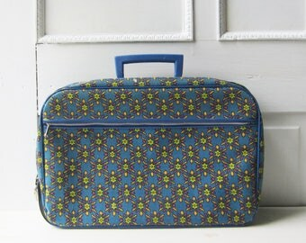 Vintage Small Fabric Suitcase - Blue with Geometric Print - Overnight Bag - Carry On - Weekend Bag - Very Clean - Japan