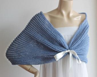 Denim Blue Cape-Blue  Bridal Cape /Blue Wedding Wrap Shrug Bolero/Hand Knit Wool Cape -Ready to Ship-Light and Airy