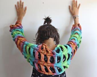 Tattered Bolero with long sleeves, Multicolor Knit Shrug Boleros, Cotton Shrug -Hippie Summer Bolero-Braided Bolero