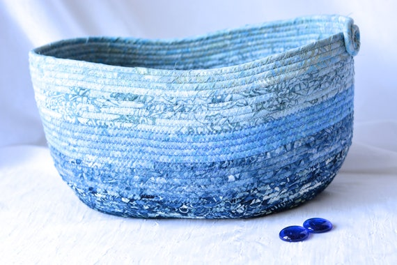 Blue Gift Basket, Ombre Blue Decoration, Gorgeous Batik Basket, Handmade Rustic Fiber Art Bowl, Winter Blue Decoration, Blue Textile Bowl