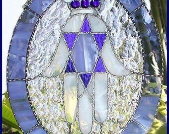 "Stained Glass Suncatcher - Blue & White Jewish Hamsa Design - Jewish Gift Idea - Glass Sun Catcher - 9 1/2"" x 12"" - 9576-SB"