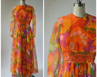 1960s 1970s Maxi Dress Orange Psychedelic Print Chiffon Dress with Rhinestones and Rope Embroidery Size Medium Peter Max Like Print