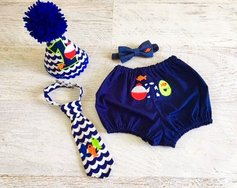 Baby Boy O-FISH-ALLY One or Big One Fish Themed Cake Smash Outfit with Birthday Hat, Diaper Cover, and Tie or Bow Tie