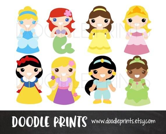 Princesses Clipart Design Digital Clip Art Printable Cute