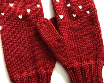 Hand Knit Mittens - Red Mittens - Classic Mittens