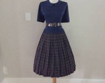 Vintage 50s 60s Atomic Gray Plaid Pleated Skirt / 1950s 1960s Secretary Skirt / Mad Men Costume / High Waist I Love Lucy Pin Up Circle Skirt