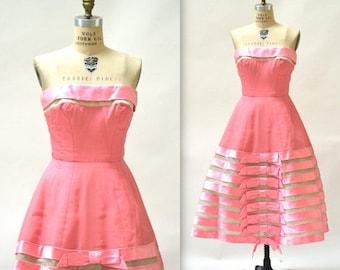 SALE 50s Vintage Prom Dress Size Small Medium Pink// 1950s Vintage PInk Bridesmaid Dress Party Dress Crinoline Skirt Small Medium