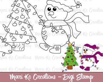 Little Snowman Decorates A Tree  Digital Stamp 300 dpi png