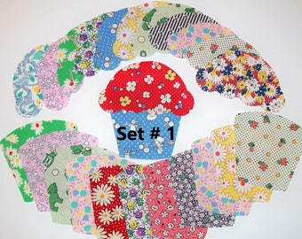 12 Cupcake appliques die cut from 1930's reproduction cotton fabric for quilt blocks or tops