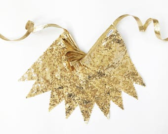 Gold Sequin Pennant Fabric Banner - Bunting, Decoration, Photo Prop