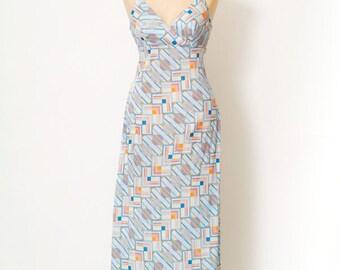 Vintage dress / jack hartley / Vintage / dress / gift for women / gift for her / Summer dress / beach dress, party dresses blue / maxi dress